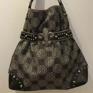 Kathy Van Zeeland Les Fleur De Lis  Handbag